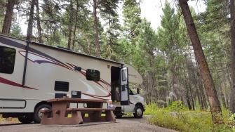 Kaum ein andere mensch ist auf dem Campground am Paul Lake. Dafür jede Menge Waldbewohner.